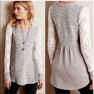 ANTHROPOLOGIE Sweater Lace Gray Saturday Sunday